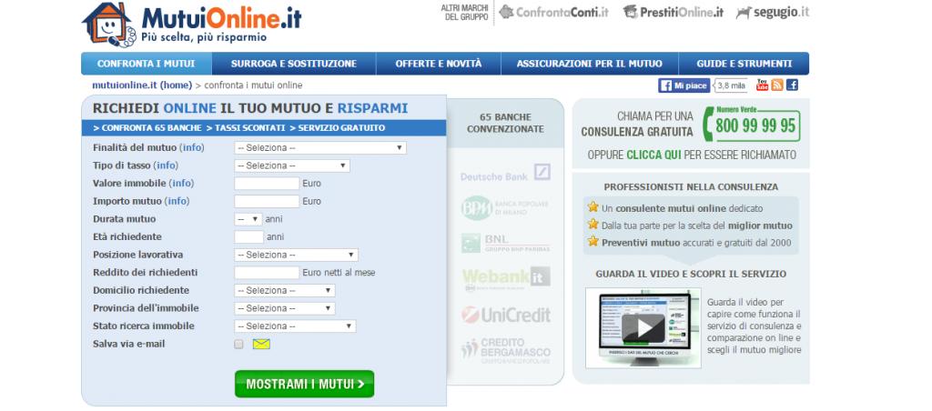 quotazione mutui on line)