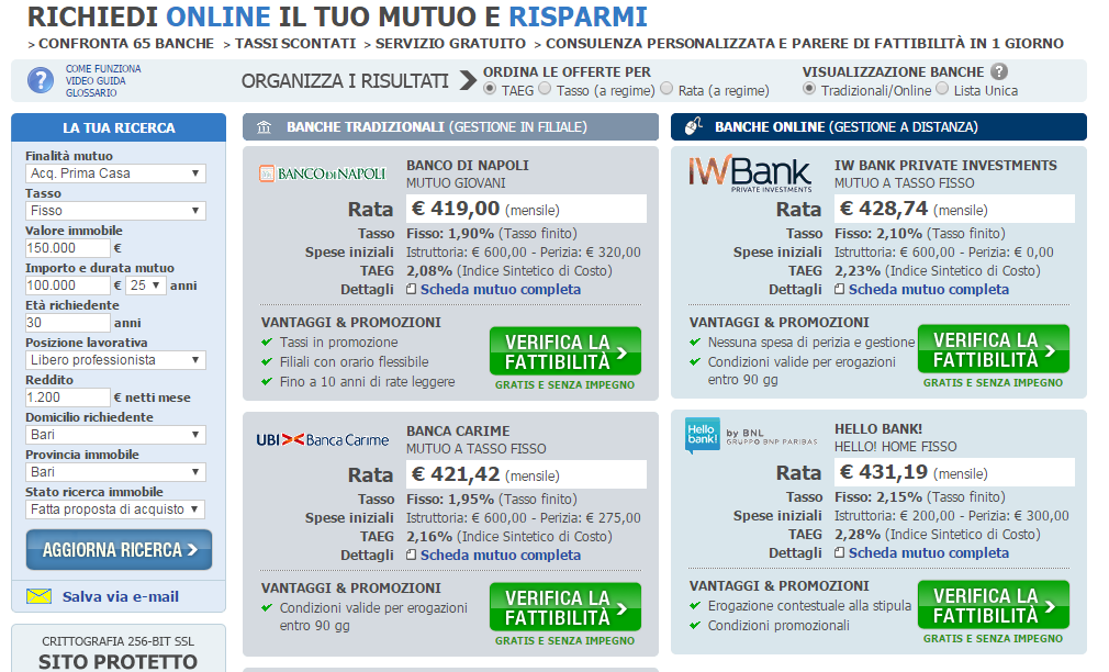 quotazione mutui on line