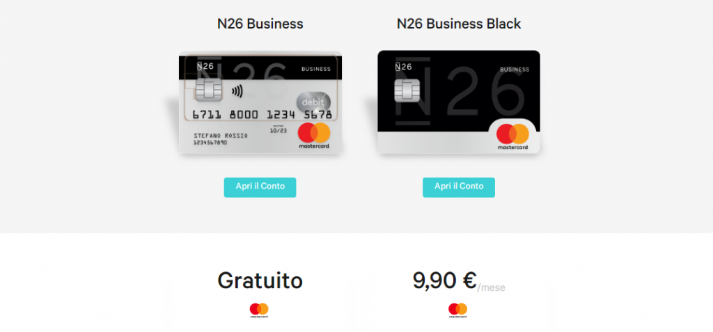 n26 carte di credito business