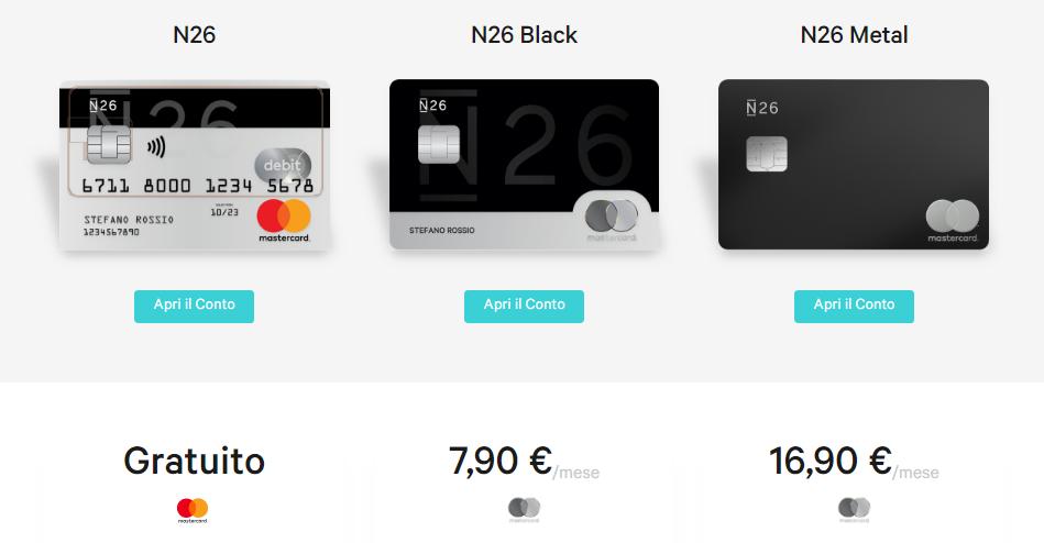 n26 carte di credito costi