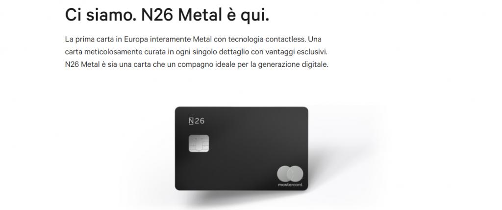 n26 carte di credito metal